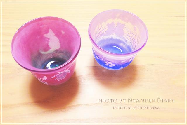 グラスアート・アン 猫の切り絵のデザイングラス